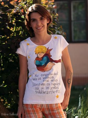 Tricou pictat - Micul Prinț și Vulpea
