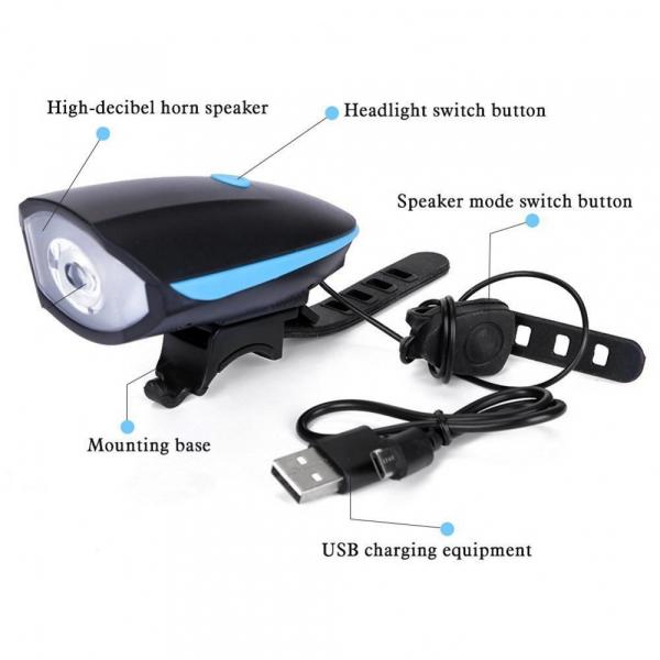 Lanterna reincarcabila 2in1 cu LED si alarmapentru bicicleta