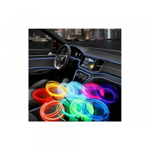 Banda LED luminoasa decorativa flexibila pentru auto 2m