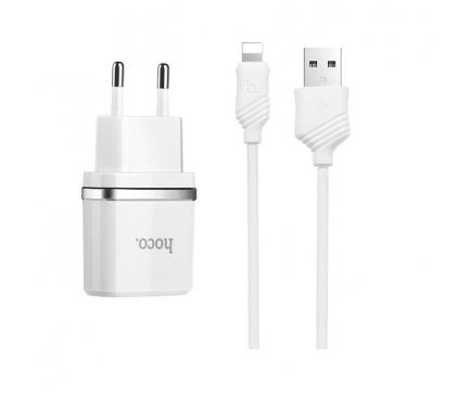 Incarcator retea iPhone Dual USB Lightning iPhone HOCO C12 2.4A Alb Blister Original