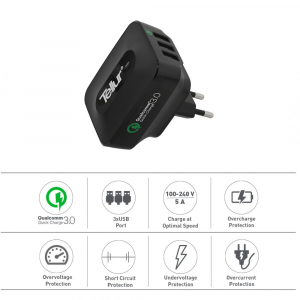 Incarcator retea 3 usb, QuickCharge  QC 3.0 – 3 USB ports 5A (1 x QC 3.0 & 2 x USB)
