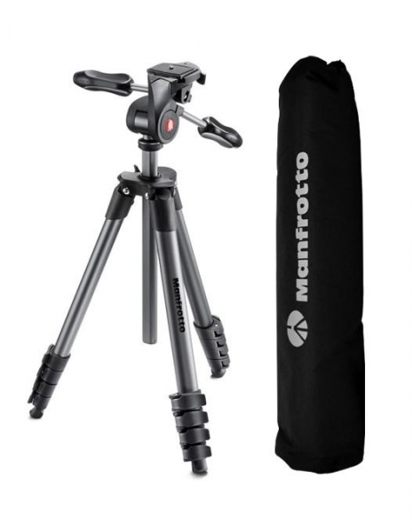 Manfrotto Compact Advanced kit trepied foto cu cap 3-Way si husa