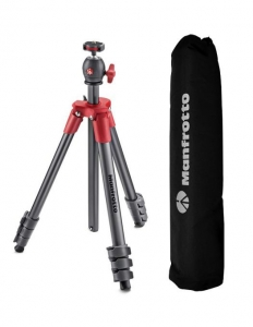 Pachet Vlogger Manfrotto Compact Light rosu + LED Lumimuse 3 + Microfon + Brat Cold-Shoe + Manfrotto Twist Grip suport