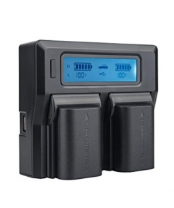 Digital Power Incarcator dual LCD pentru acumulatori Canon LP-E6