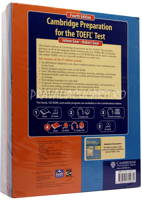 Cambridge Preparation for the TOEFL iBT Test (4th Edition) Book with CD-ROM and Audio CDs (8) Pack 1
