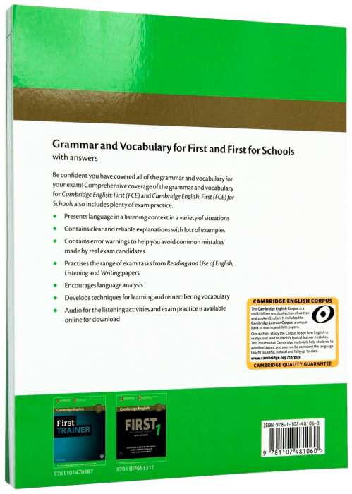 Grammar and Vocabulary for First and First for Schools Book with Answers and Audio 1