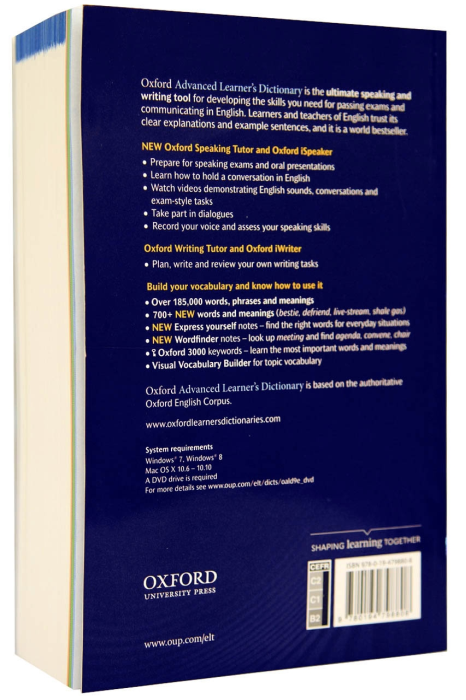 Oxford Advanced Learner's Dictionary 9 th edition. iSpeaker and iWriter on DVD [1]
