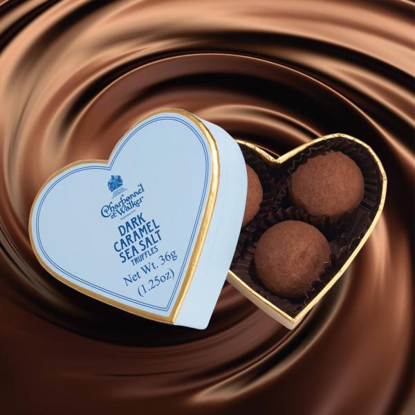 Trufe de ciocolata neagra cu caramel sarat 36G - Inima albastra 1