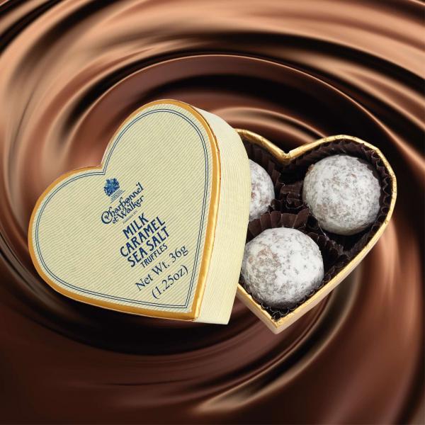 Trufe de ciocolata cu lapte si caramel sarat 36G - inima crem 1