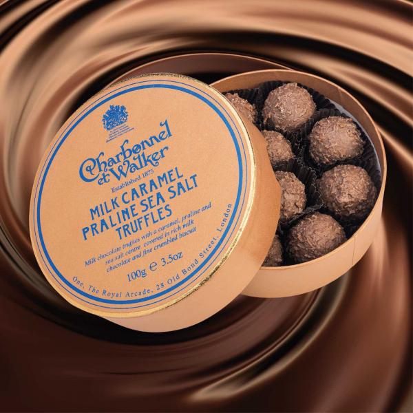 Trufe de ciocolata cu lapte, praline si caramel sarat 100G 1