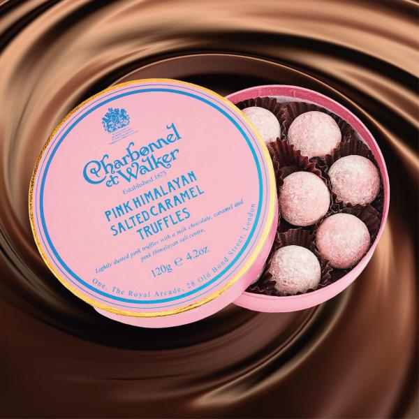 Trufe roz de ciocolata cu lapte si caramel sarat 120G 1