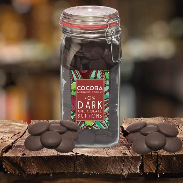 Borcan gigant cu năsturei de ciocolată neagră 70% 900G 2