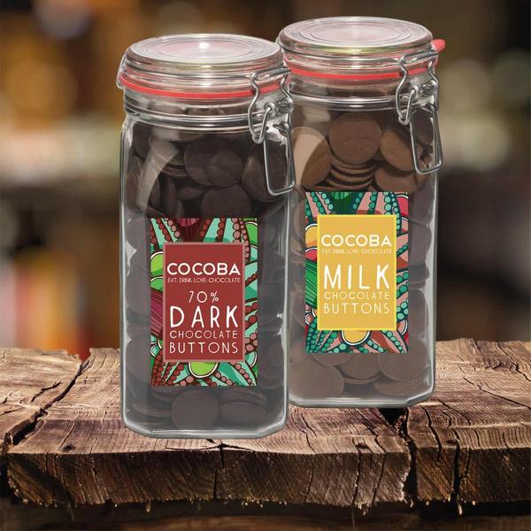 Borcan gigant cu năsturei de ciocolată neagră 70% 900G 4