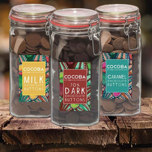 Borcan gigant cu năsturei de ciocolată neagră 70% 900G 5
