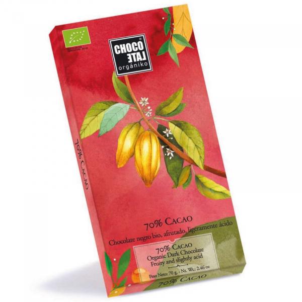 Ciocolata neagra organica 70% cacao 70G 0