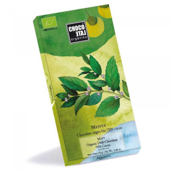 Ciocolata neagra organica 70% cacao cu menta 70G 0