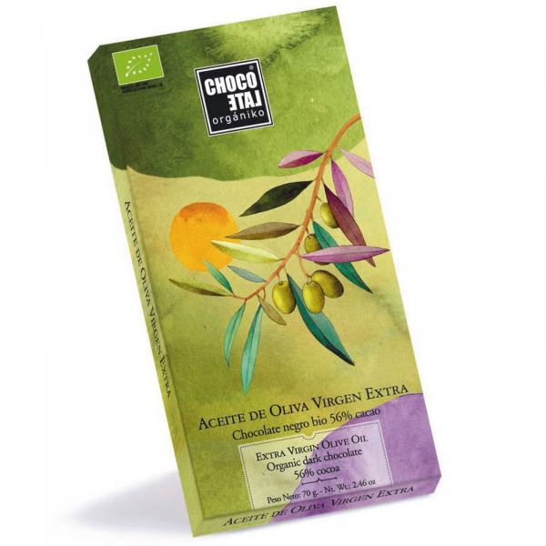 Ciocolata neagra organica 56% cacao cu ulei de masline extravirgin 70G 0