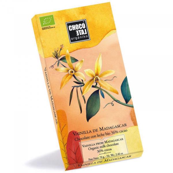 Ciocolata cu lapte organica 36% cacao cu vanilie de Madagascar 70G 0