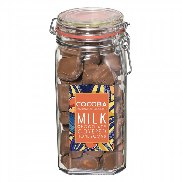 Borcan gigant cu fagure învelit în ciocolată cu lapte 500G 0