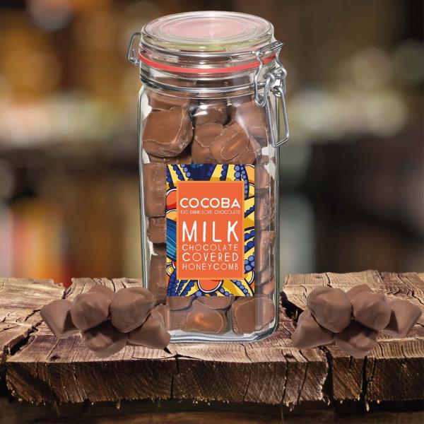 Borcan gigant cu fagure învelit în ciocolată cu lapte 500G 2