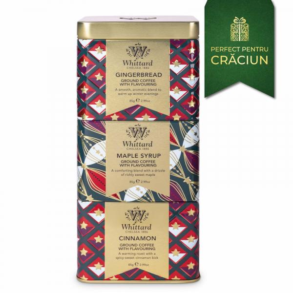 Cafea cu arome de Craciun in 3 cutii metalice 4
