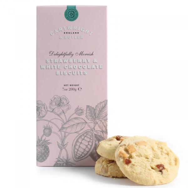 Biscuiti cu ciocolata alba si capsuni in cutie carton 200G 1