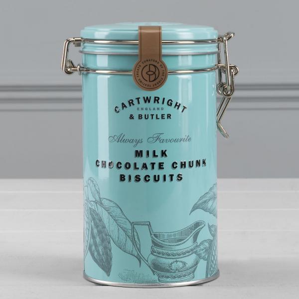 Biscuiti cu ciocolata cu lapte in cutie metalica 200G 2