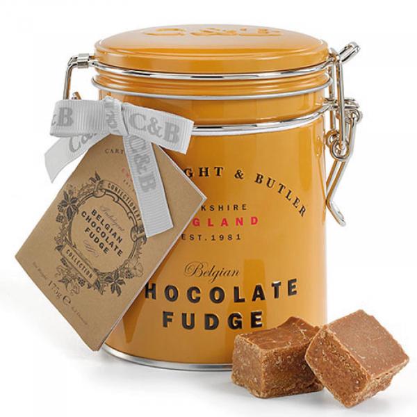 Fudge cu ciocolata belgiana in cutie metalica 175G 1