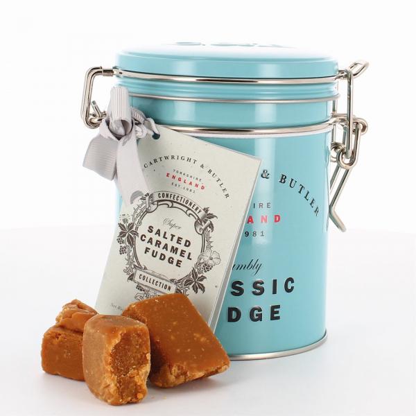 Fudge cu caramel sarat in cutie metalica 175G 1