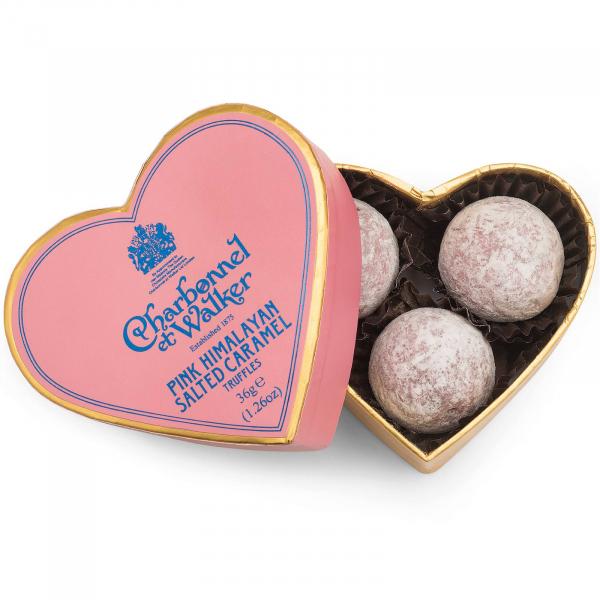 Trufe roz de ciocolata cu lapte si caramel sarat 36G - inima roz 0