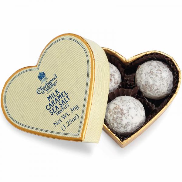 Trufe de ciocolata cu lapte si caramel sarat 36G - inima crem 0