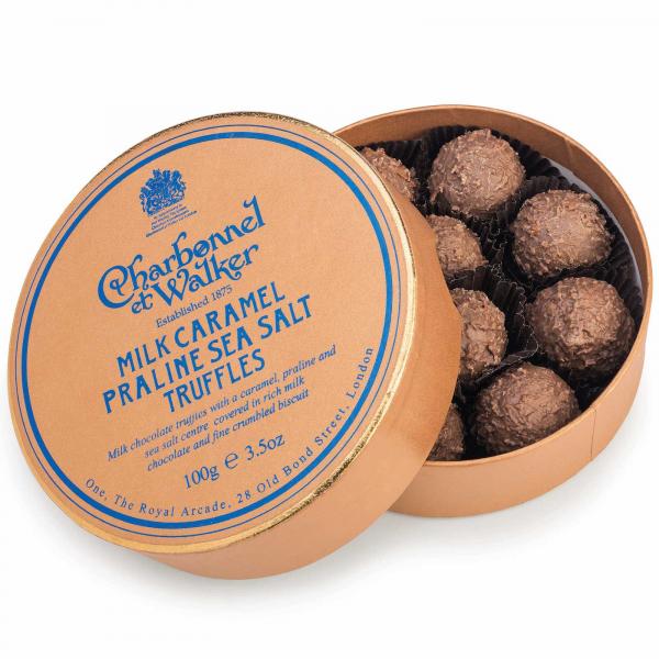 Trufe de ciocolata cu lapte, praline si caramel sarat 100G 0