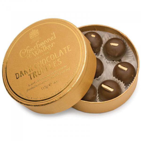 Trufe de ciocolata neagra cu petala de aur 115G 0