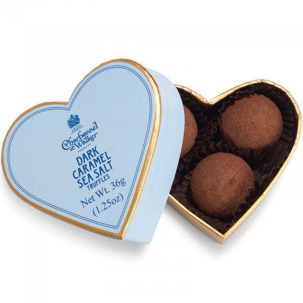 Trufe de ciocolata neagra cu caramel sarat 36G - Inima albastra 0