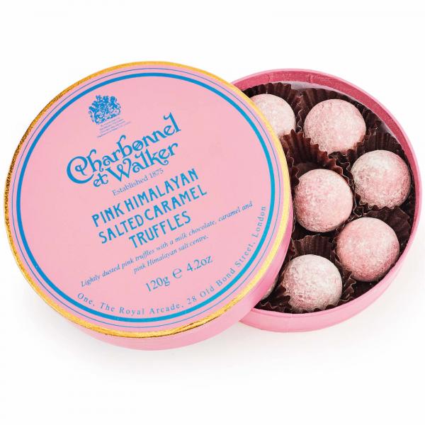 Trufe roz de ciocolata cu lapte si caramel sarat 120G 0
