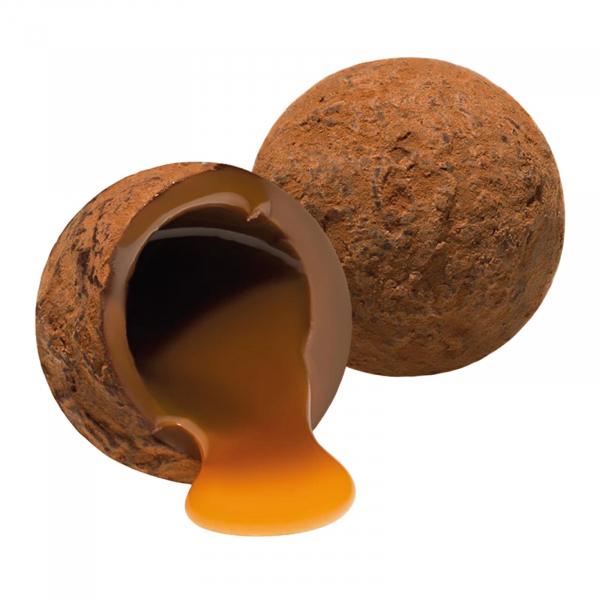 Trufe de ciocolata cu lapte si caramel sarat in cutie metalica 120G 2