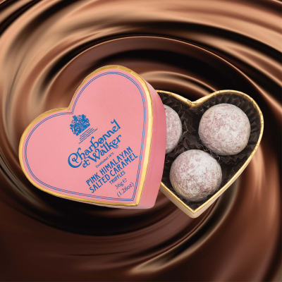 Trufe roz de ciocolată cu lapte și caramel 36G - Inimă roz1