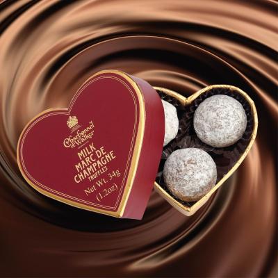 Trufe de ciocolată cu lapte Marc de Champagne 34G - Inimă roșie1