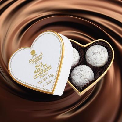 Trufe de ciocolată cu lapte Marc de Champagne 34G - Inimă albă1