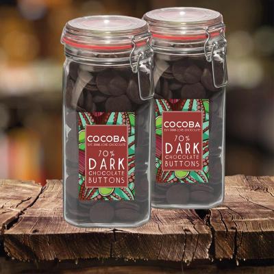 Borcan gigant cu năsturei de ciocolată neagră 70% 900G3