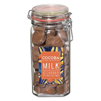 Borcan gigant cu fagure învelit în ciocolată cu lapte 500G0