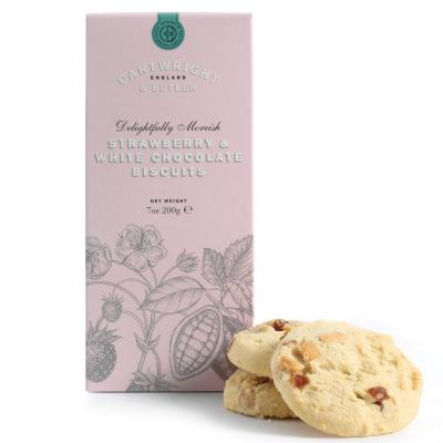 Biscuiți cu ciocolată albă și căpșuni în cutie carton 200G1