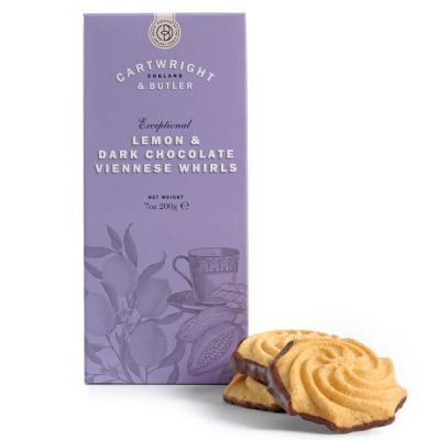 Biscuiți cu lămâie și ciocolată neagră în cutie carton 200G1