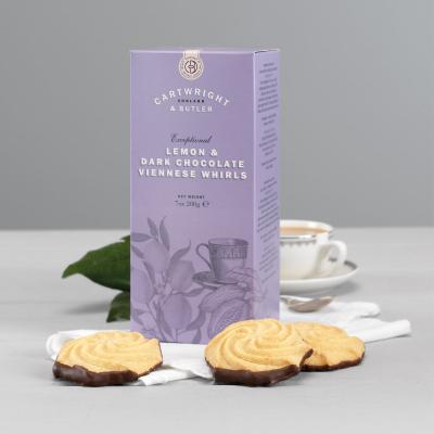 Biscuiți cu lămâie și ciocolată neagră în cutie carton 200G2