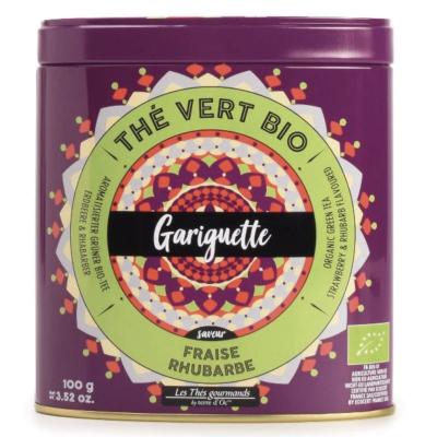Ceai verde organic Gariguette cu căpșuni și rubarbă 100G0