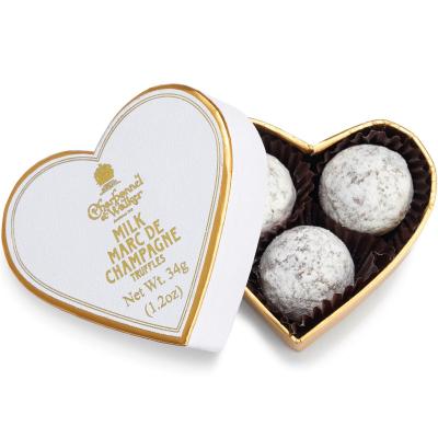 Trufe de ciocolată cu lapte Marc de Champagne 34G - Inimă albă0