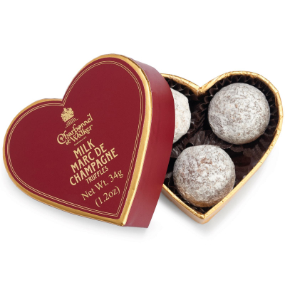 Trufe de ciocolată cu lapte Marc de Champagne 34G - Inimă roșie0
