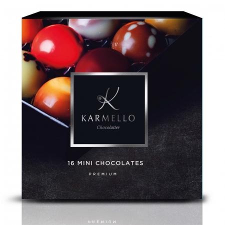 Asortiment premium 16 mini-bomboane de ciocolată cu umplutură0