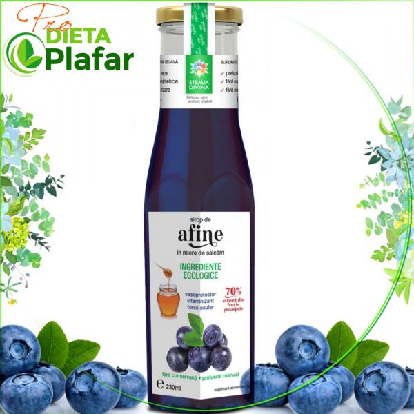 Sirop de AFINE cu miere Bio de Salcam 230 ml. Extract pentru sanatatea ochilor si vase de sange fine.