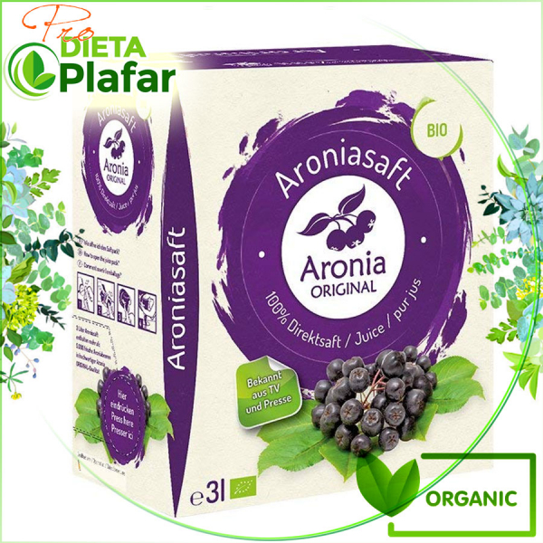 Suc de aronia 100% natural si bio produs in Germania de Aronia Original are cel mai bun pret per litru.